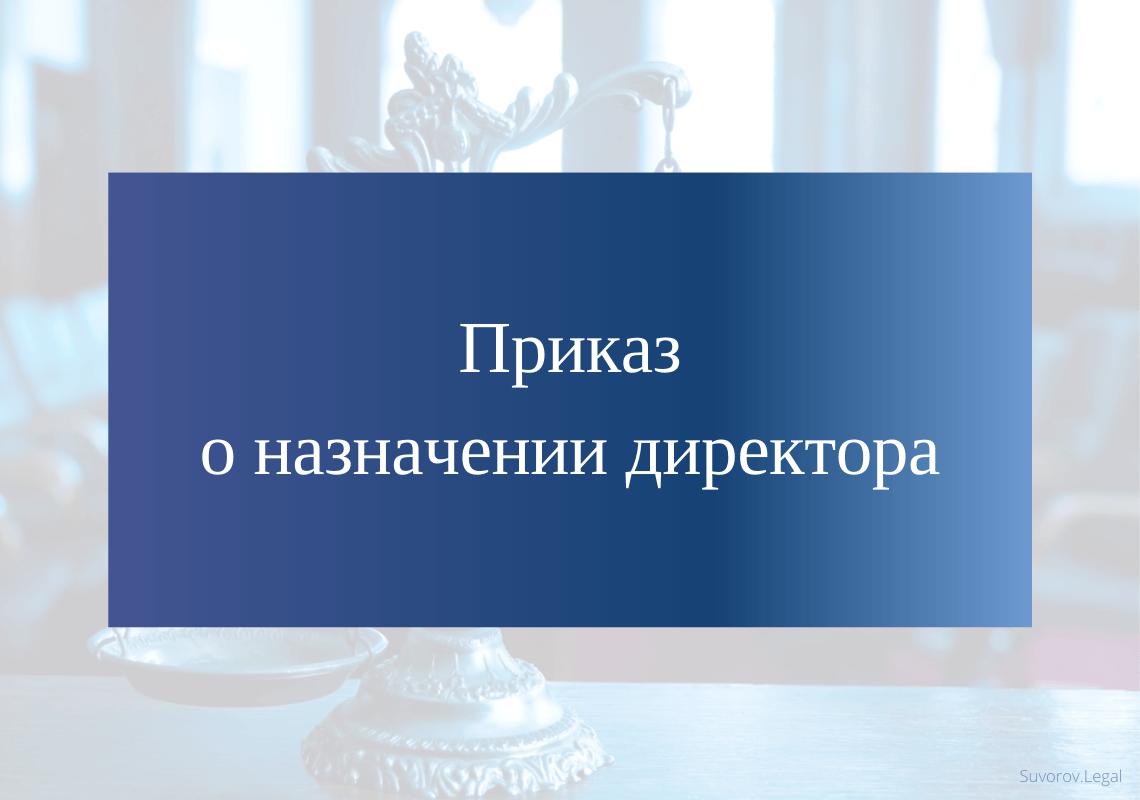 Образец приказа о назначении директора