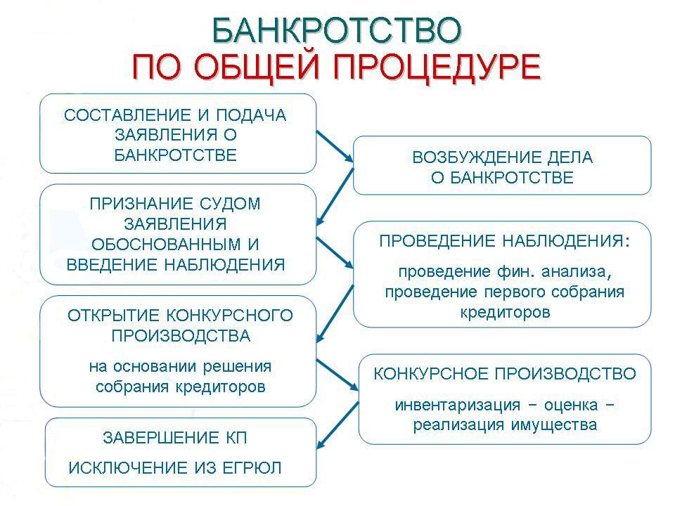 Схема процедуры банкротства общая
