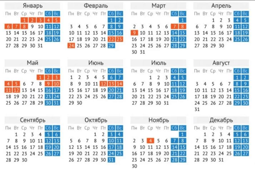 Рабочие и праздничные дни в 2020 году
